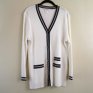 Exclusively Misook White Ribbed Cardigan Sweater